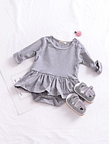 cheap -Baby Girls' Daily Solid One-Pieces, Cotton Linen Bamboo Fiber Acrylic Spring Simple Short Sleeves Blushing Pink Gray
