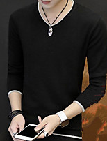 cheap -Men's Going out Regular Pullover,Solid V Neck Long Sleeves Polyester Winter Fall Thick Micro-elastic