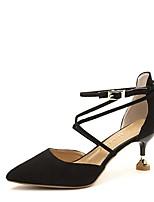 preiswerte -Damen Schuhe PU Frühling Herbst Komfort High Heels Niedriger Heel für Schwarz