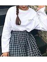abordables -Mujer Casual Diario Otoño Camiseta,Escote Redondo Estampado Mangas largas Algodón Opaco