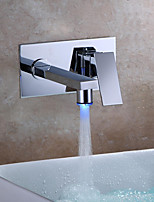 cheap -Contemporary Wall Mounted LED Ceramic Valve Single Handle Two Holes Chrome , Bathroom Sink Faucet