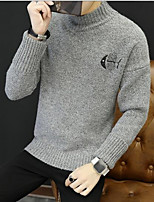 cheap -Men's Daily Short Pullover,Solid Print Turtleneck Long Sleeve Wool Blend Winter Fall Thick strenchy