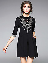 cheap -Women's Daily Going out Sophisticated Street chic A Line Sheath Swing Above Knee Dress, Solid Lace Ruched Stand 3/4 Length Sleeves