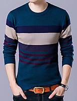 preiswerte -Herren Standard Pullover-Alltag Freizeit Einfarbig Rundhalsausschnitt Langarm Polyester Alle Jahreszeiten Dünn Mikro-elastisch
