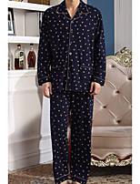 abordables -Costumes Pyjamas Homme,Rayé Opaque Coton Bleu Marine Bleu clair Bleu royal