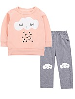 cheap -Baby Girls' Birthday Daily Print Clothing Set,Cotton Spring Cute Active Long Sleeve Orange
