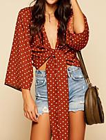 cheap -Women's Polyester Shirt - Polka Dot V Neck
