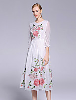 cheap -Women's Sophisticated Chinoiserie Loose Dress - Floral, Flower
