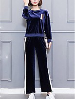 cheap -Women's Casual/Daily Simple Winter Hoodie Pant Suits,Solid Round Neck Long Sleeves Polyester Spandex