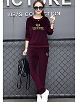 cheap -Women's Sports Casual Fall Hoodie Pant Suits,Print Crew Neck Long Sleeve Polyester
