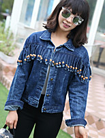 cheap -Women's Casual/Daily Simple Spring Fall Denim Jacket,Solid Shirt Collar Long Sleeves Short Cotton Stylish