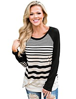 cheap -Women's Daily Casual Winter Fall T-shirt,Striped Round Neck Long Sleeve Polyester Opaque