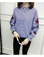 cheap -Women's Daily Casual Fall Shirt,Solid Square Neck Long Sleeve Cotton Thin