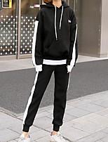 economico -Felpa con cappuccio Pantalone Completi abbigliamento Da donna Sport Casual Primavera Autunno,Tinta unita Con cappuccio Cotone Maniche