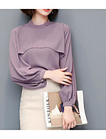 cheap -Women's Daily Vintage Spring Shirt,Solid Shirt Collar Short Sleeve Cotton Acrylic Opaque