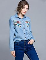cheap -Women's Daily Going out Casual Street chic Spring Shirt,Print Shirt Collar Long Sleeve Cotton Opaque