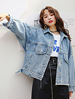 cheap -Women's Daily Holiday Vintage Spring Denim Jacket,Solid Round Neck Short Sleeve Regular Cotton Acrylic Pleated