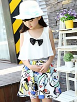 cheap -Girl's Daily Solid Geometric Dress,Polyester Spring Sleeveless Boho Yellow White