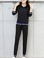 cheap -Women's Sports Going out Simple Fall Hoodie Pant Suits,Solid Hooded Long Sleeves Cotton