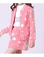 Недорогие -Девочки Набор одежды Повседневные Хлопок Галактика Весна Длинные рукава Простой Активный Розовый Серый