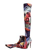 Недорогие -Жен. Обувь Материал на заказ клиента Осень Зима Модная обувь Ботинки На шпильке Заостренный носок Бедро высокие сапоги для Свадьба Для
