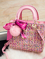 cheap -Women Bags PU Tote Feathers / Fur Sashes/ Ribbons for Event/Party Casual All Season Blushing Pink Black