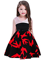cheap -Girl's Birthday Daily Print Patchwork Dress,Cotton Summer Sleeveless Cute Casual Red