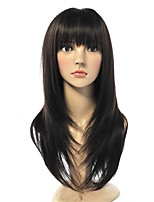 cheap -Top Quality Long Wig Natural Black Silky Straight Synthetic Fiber Wig Natural Hairstyle Neat Bang Full Wig For Women