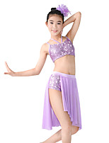 cheap -Ballet Latin Dance Jazz Outfits Women's Children's Stage Spandex Elastic Mesh Sequined Flower Criss Cross Split Paillette Sleeveless