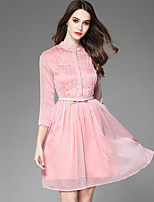 cheap -YHSP Women's Holiday Going out Casual Street chic A Line Sheath DressSolid Stand Above Knee 3/4 Sleeve Polyester Spring Mid Rise Inelastic