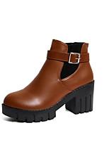 abordables -Femme Chaussures Polyuréthane Hiver Automne Confort Botillons Bottes Talon Bottier Bottine/Demi Botte pour Décontracté Noir Brun Foncé