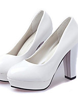 cheap -Women's Shoes PU Spring Fall Comfort Heels Chunky Heel for Casual White Black Red Almond