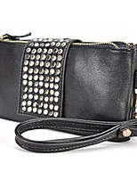 cheap -Women Bags PU Metal Clutch Zipper for Casual All Season Black