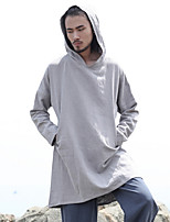 cheap -Men's Daily Hoodie Solid Hooded Micro-elastic Polyester Long Sleeve Fall/Autumn