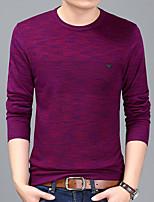 preiswerte -Herren Standard Pullover-Alltag Freizeit Druck Rundhalsausschnitt Langarm Polyester Alle Jahreszeiten Dünn Dehnbar