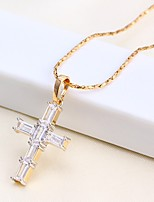 cheap -Men's Women's Cross Casual Basic Pendant Necklace Chain Necklace Rhinestone Rose Gold Plated Pendant Necklace Chain Necklace , Causal