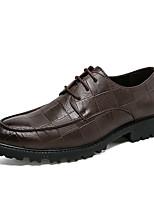 baratos -Homens sapatos Pele Real Courino Primavera Verão Conforto Oxfords para Casual Preto Marron
