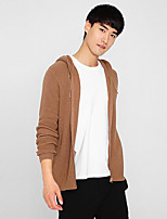 cheap -Men's Daily Casual Regular Cardigan,Solid Hooded Long Sleeves Polyester Japanese Cotton Fall Thick Micro-elastic