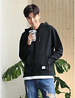 cheap -Men's Casual/Daily Hoodie Solid Round Neck Inelastic Polyester Long Sleeves Winter