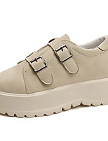 cheap -Women's Shoes PU Spring Comfort Sneakers Flat Heel Round Toe for Casual Khaki Black
