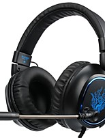 Недорогие -sades r5 над ушной головкой проводные наушники пластмассовый игровой наушник шумоизоляция с микрофоном с регулятором громкости световой