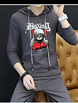 cheap -Men's Casual/Daily Simple Hoodie Animal print Hooded Inelastic Cotton Long Sleeves Fall