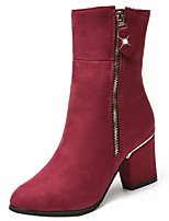 cheap -Women's Shoes PU Winter Comfort Boots Chunky Heel Round Toe Mid-Calf Boots for Casual Dress Wine