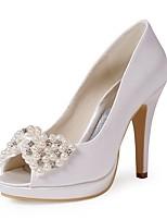 preiswerte -Damen Schuhe Seide Frühling Sommer Pumps Hochzeit Schuhe Stöckelabsatz Peep Toe Strass Imitationsperle für Hochzeit Party & Festivität