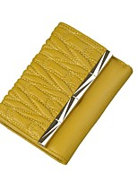 cheap -Women Bags Cowhide Wallet Ruffles for Shopping Casual All Season Yellow