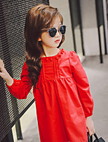 cheap -Girl's Daily Solid Dress,Cotton Polyester Spring Fall Long Sleeves Casual Yellow Red