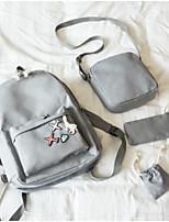 cheap -Women's Bags Canvas Bag Set 4 Pieces Purse Set Zipper for Casual All Seasons White Black Blushing Pink Yellow Light Gray