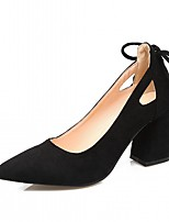 cheap -Women's Shoes Leatherette Spring Fall Comfort Novelty Heels Chunky Heel Pointed Toe Bowknot for Casual Dress Black Beige Pink Khaki