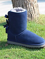cheap -Women's Shoes Real Leather Winter Snow Boots Boots Flat Heel Round Toe for Casual Blue Gray Beige