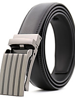 cheap -Men's Genuine Leather Waist Belt,Black Work Casual Striped Pure Color